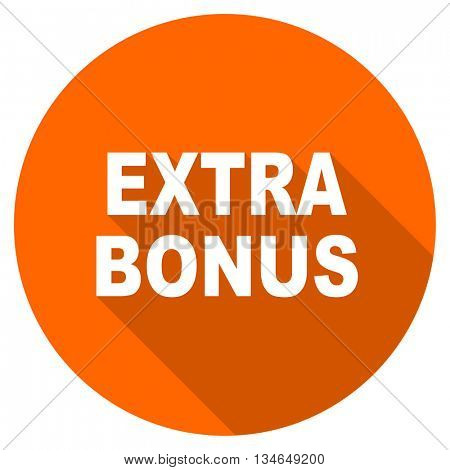 extra bonus vector icon, orange circle flat design internet button, web and mobile app illustration