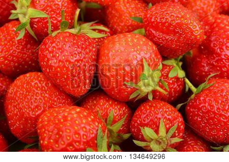 Close up of some red ripe strawberry DOF
