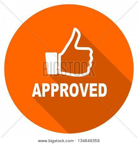 approved vector icon, orange circle flat design internet button, web and mobile app illustration