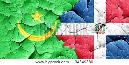Mauritania flag with Dominican Republic flag on a grunge cracked