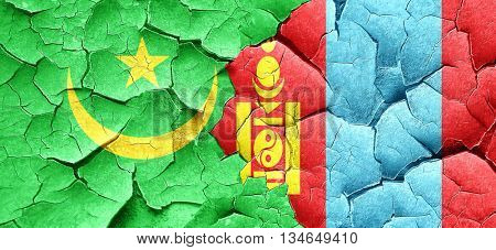 Mauritania flag with Mongolia flag on a grunge cracked wall