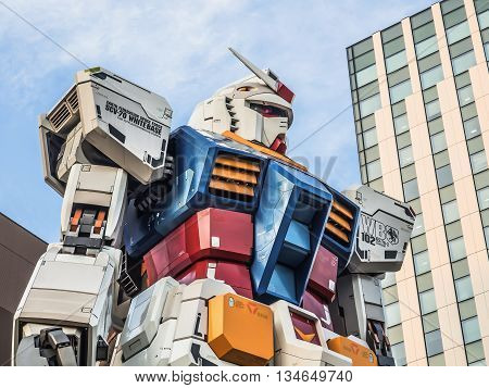 Odaiba, Tokyo, Japan - March 30, 18-meter Mobile Suit Gundam Rx78 Robot In Front Of Divercity Tokyo