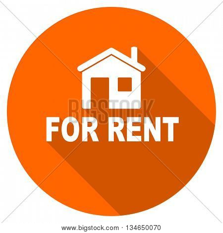 for rent vector icon, orange circle flat design internet button, web and mobile app illustration