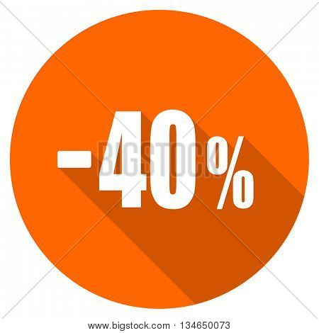 40 percent sale retail vector icon, orange circle flat design internet button, web and mobile app illustration