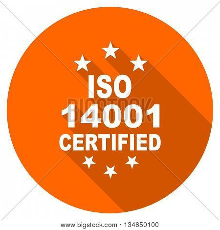 iso 14001 vector icon, orange circle flat design internet button, web and mobile app illustration