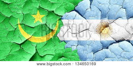 Mauritania flag with Argentine flag on a grunge cracked wall