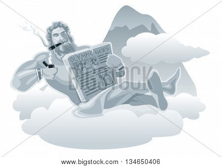 Zeus sitting on a cloud and lights a cigarette from lightning. Flat vector illustration.