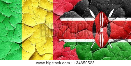 Mali flag with Kenya flag on a grunge cracked wall