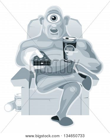 Cyclops is sitting in a chair watching television and holding the remote control and beer. Vector flat illustration on white background