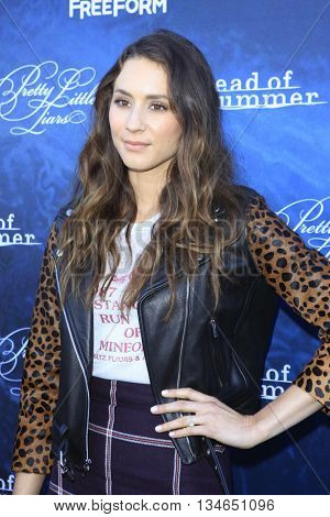 LOS ANGELES - JUN 15:  Troian Bellisario at the Pretty Little Liars Seaon 7 Premiere and Dead of Summer Premeire at the Hollywood Forever Cemetary on June 15, 2016 in Los Angeles, CA