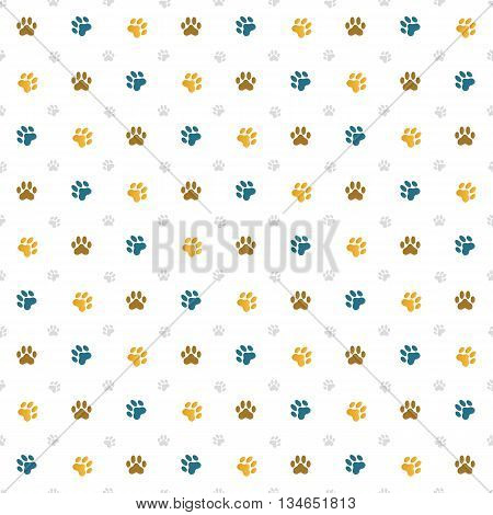 Seamless repeat illustration of cat paw prints