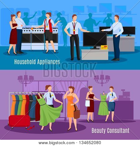 Communication of sellers with customers compositions with choice of clothes and household appliances isolated vector illustration