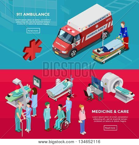 Two isometric hospital horizontal banners with medical staff diagnostic equipment ambulance car feldsher and gurney with patient flat vector illustration