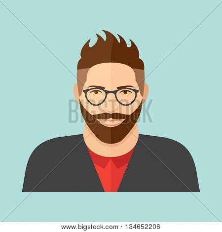 Hipster character. Young man with glasses and beard. Flat style vector icon.