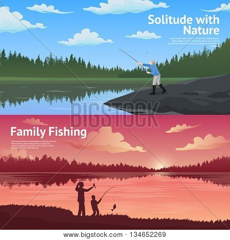 Family fishing in the counryside 2 flat horizontal banners set about outdoor activirties abstract isolated vector illustration