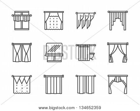 Classic and modern curtains, blinds and lambrequins. Textile decor for stylish interior design. Vector collection of simple black line style icons.