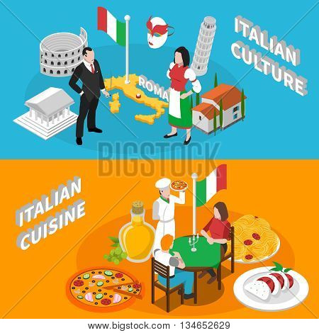 Italian culture traditions landmarks an mediterranean cuisine for tourists 2 isometric banners poster abstract isolated vector illustration