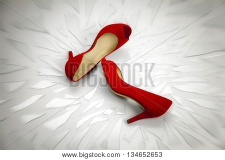 Two women's shoes red rest on broken glass fragments. The image symbolizes the continuing violence suffered by women who often end up victims of family killings.