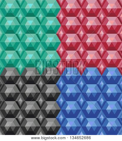 Vector set of seamless texture of colored gems
