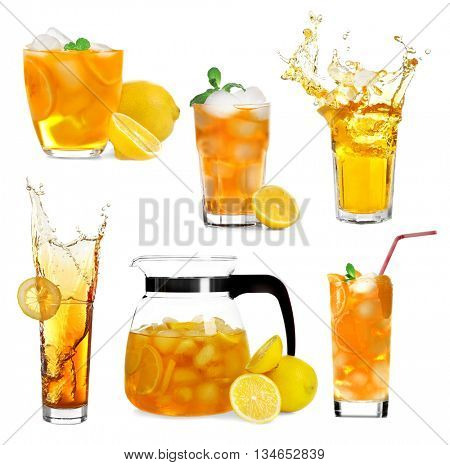 Collage of ice tea isolated on white