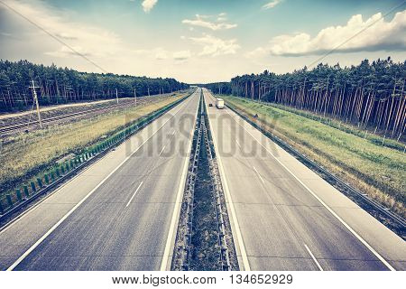 Retro Stylized Picture Of A Highway.