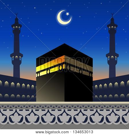 Moonlight Kaaba and mosque silhouette in Mecca Saudi Arabia on arabic geometric pattern for greeting background of Hajj, vector illustration, EPS 10