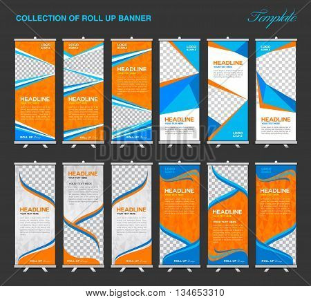 Collection of Orange and blue Roll Up Banner Design polygon backgroundflyers banners labels roll-up and card template