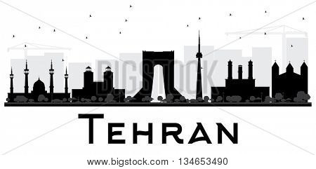 Tehran City skyline black and white silhouette. Vector illustration. Simple flat concept for tourism presentation, banner, placard or web site. Business travel concept. Cityscape with landmarks