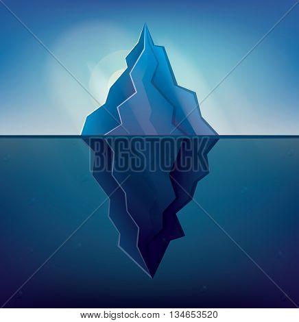 Iceberg on Blue Background. Vector Illustration. Low Poly Iceberg. Iceberg with Underwater Part.