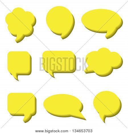 Blank empty speech bubbles. Volumetric Stickers of speech bubbles vector set