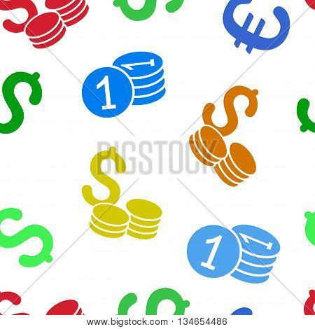 Coins Money vector seamless repeatable pattern. Style is flat coins money and dollar symbols on a white background.