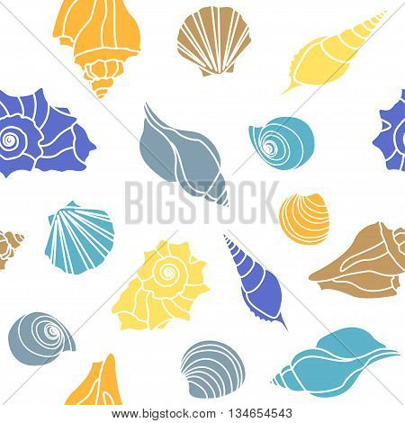 sea shells - scallop, shell, conch and mollusk. Seamless on white