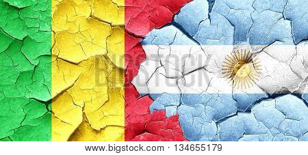 Mali flag with Argentine flag on a grunge cracked wall