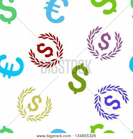 Financial Laurel Wreath vector seamless repeatable pattern. Style is flat financial laurel wreath and dollar symbols on a white background.