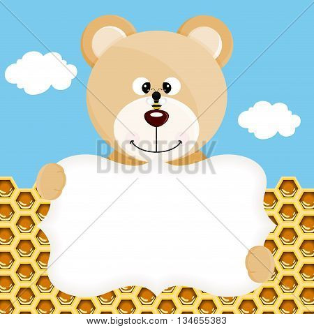 Scalable vectorial image representing a teddy bear and bee label background.