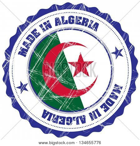 Made in Algeria grunge rubber stamp with flag