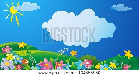 Nature field with green grass flowers at meadow and water drops dew on green leaves. Summer sunny landscape. Vector flat illustration