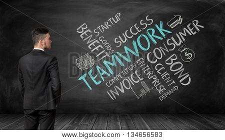 Businessman in full growth looking at black wall with sketches of teamwork formation. Believe in yourself. Business concept. Formation of ideas. The main components of teamwork. Work together.