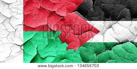 Madagascar flag with Palestine flag on a grunge cracked wall