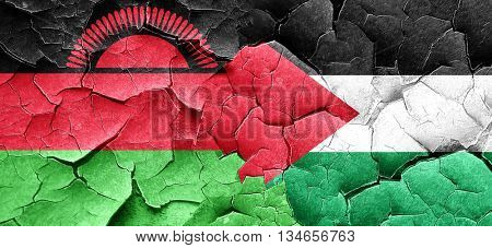 Malawi flag with Palestine flag on a grunge cracked wall