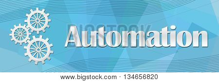 Automation concept image with text and related symbol.