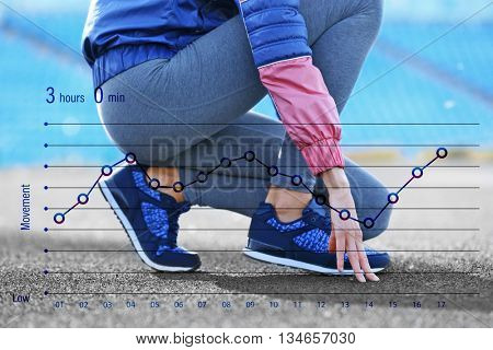 Running schedule concept. Sports woman legs in running movement