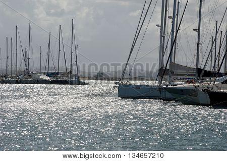 Backlit of Trapani marina in Sicily - Italy