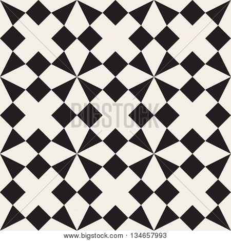 Vector Seamless Black And White Triangle Square Geometric Tessellation Pattern