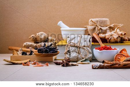 Alternative Health Care Dried Various Chinese Herbs In Wooden Box Lotus Seed And Saffron In Wooden S
