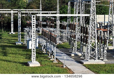 view of a modern electric power substation high voltage