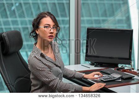 beautiful modern businesswoman inside the office building
