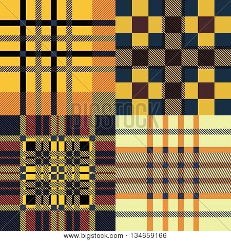 Set of seamless tartan patterns. Plaid twill blue red and yellow palette tartan pattern. Vector illustration.
