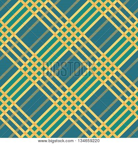 Seamless tartan pattern. Plaid twill blue yellow palette repeated tartan pattern. Diagonal texture Vector illustration.