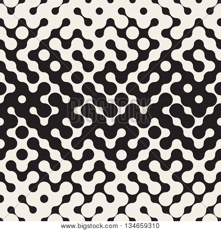 Vector Seamless Black And White Rounded Irregular Maze Halftone Gradient Pattern